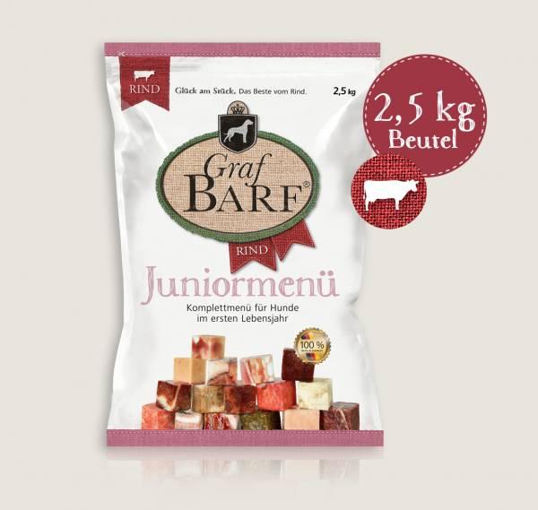 Graf Barf Juniormenü Rind - unsere Barf-Fertigmenüs mit 14 verschiedenen Rohfutterwürfeln für Ihren heranwachsende Hund ab der 14. Woche!