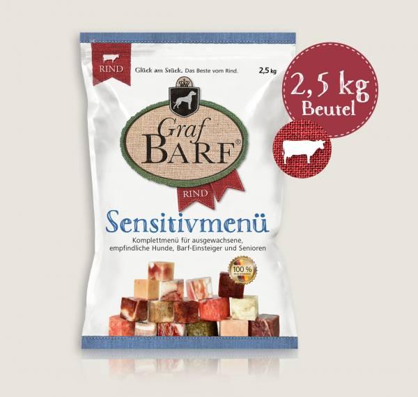 Graf Barf Sensitivmenü Rind - unser schonendes Barf-Fertigmenü mit 9 verschiedenen Rohfutterwürfeln für Ihren Hund!